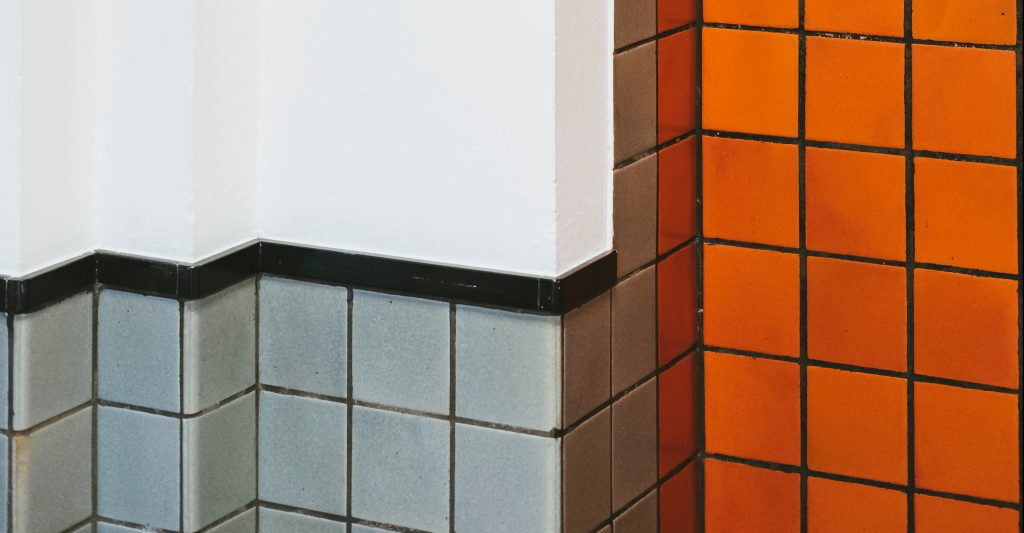 grey green orange tile no black mold design