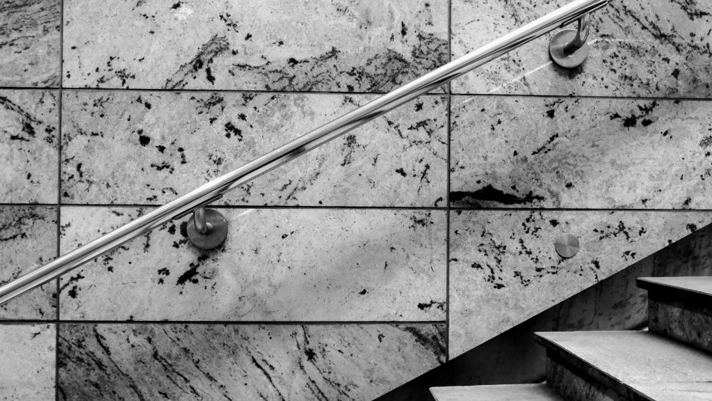 marble black and white strong contrast staircase