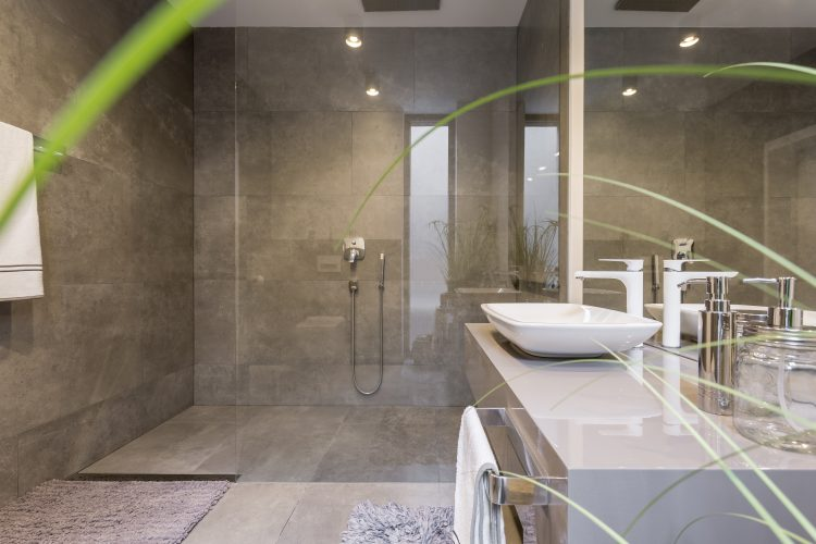 Modern bathroom interior with spacious shower