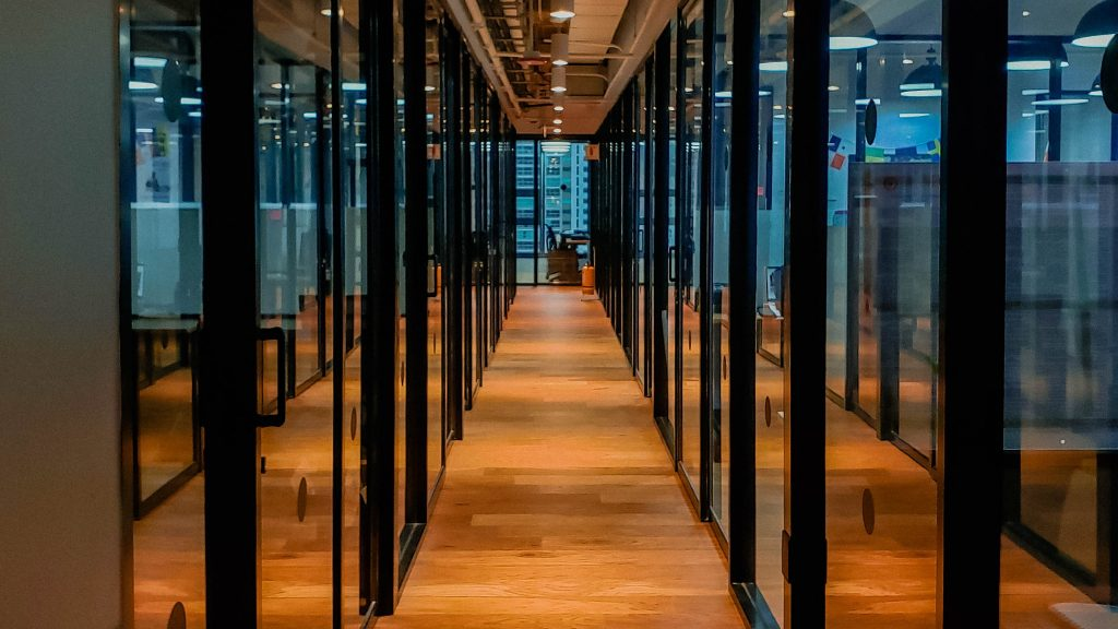 WOODEN FLOOR GLASS PARTITIONS