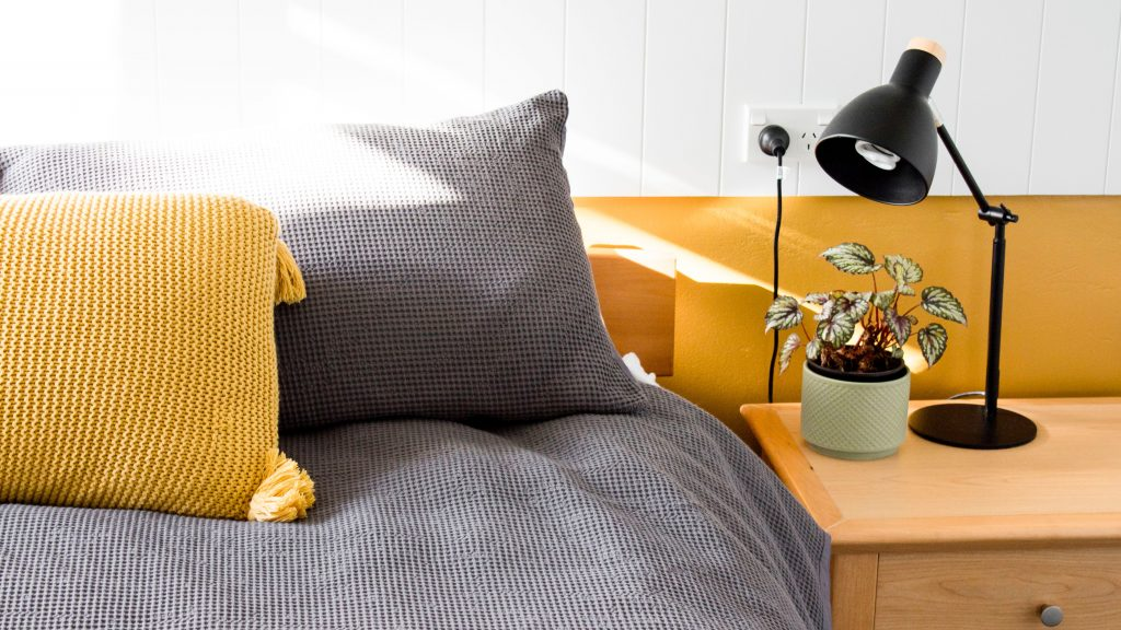 yellow pillow bed lamp